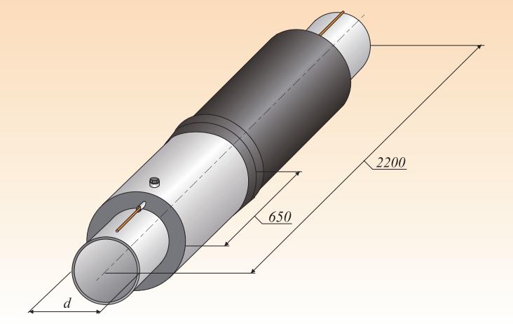 Концевой элемент трубопровода с торцевым кабелем и заглушкой изоляции