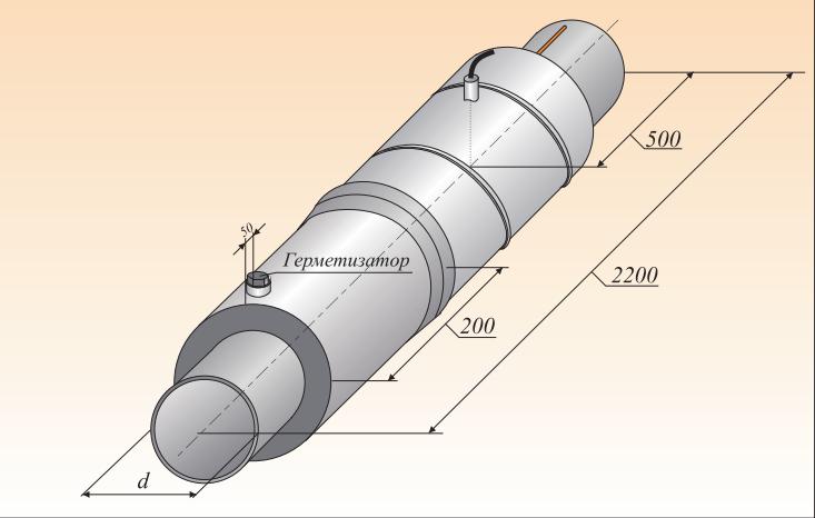 Концевой элемент трубопровода с кабелем вывода и металл. заглушкой изоляции