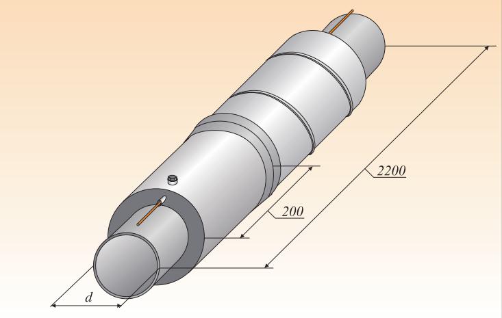 Концевой элемент трубопровода с торцевым кабелем вывода и заглушкой изоляции